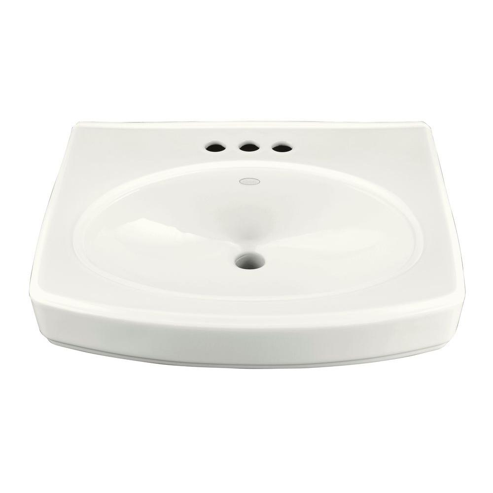 Vitreous China Pedestal Sink Basin In White With Overflow Drain