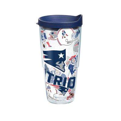 NFL New England Patriots All Over 24 oz. Double Walled Insulated Tumbler with Travel Lid