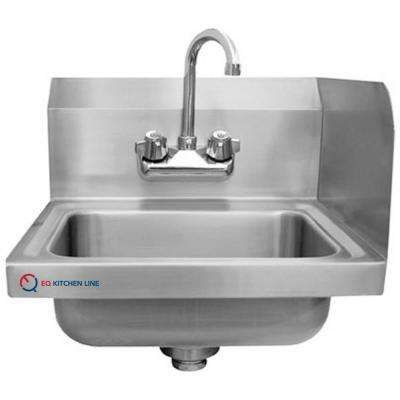 Freestanding Stainless Steel 15-3/4 in. x 15 in. x 13 in. 2-Hole Single Bowl Kitchen Sink with Backsplash and Faucet