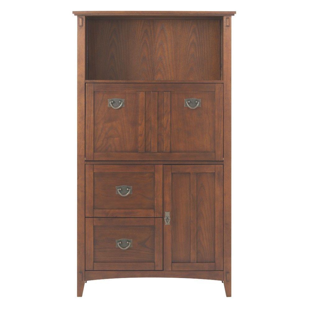 Artisan Dark Oak Secretary Desk with Storage