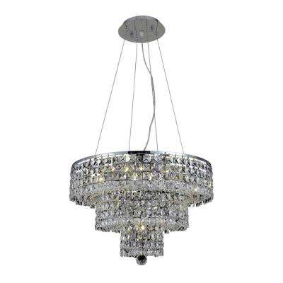 9-Light Chrome Chandelier with Clear Crystal
