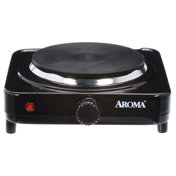 Single Burner 5.8 in. Black Diecast Hot Plate with Temperature Control