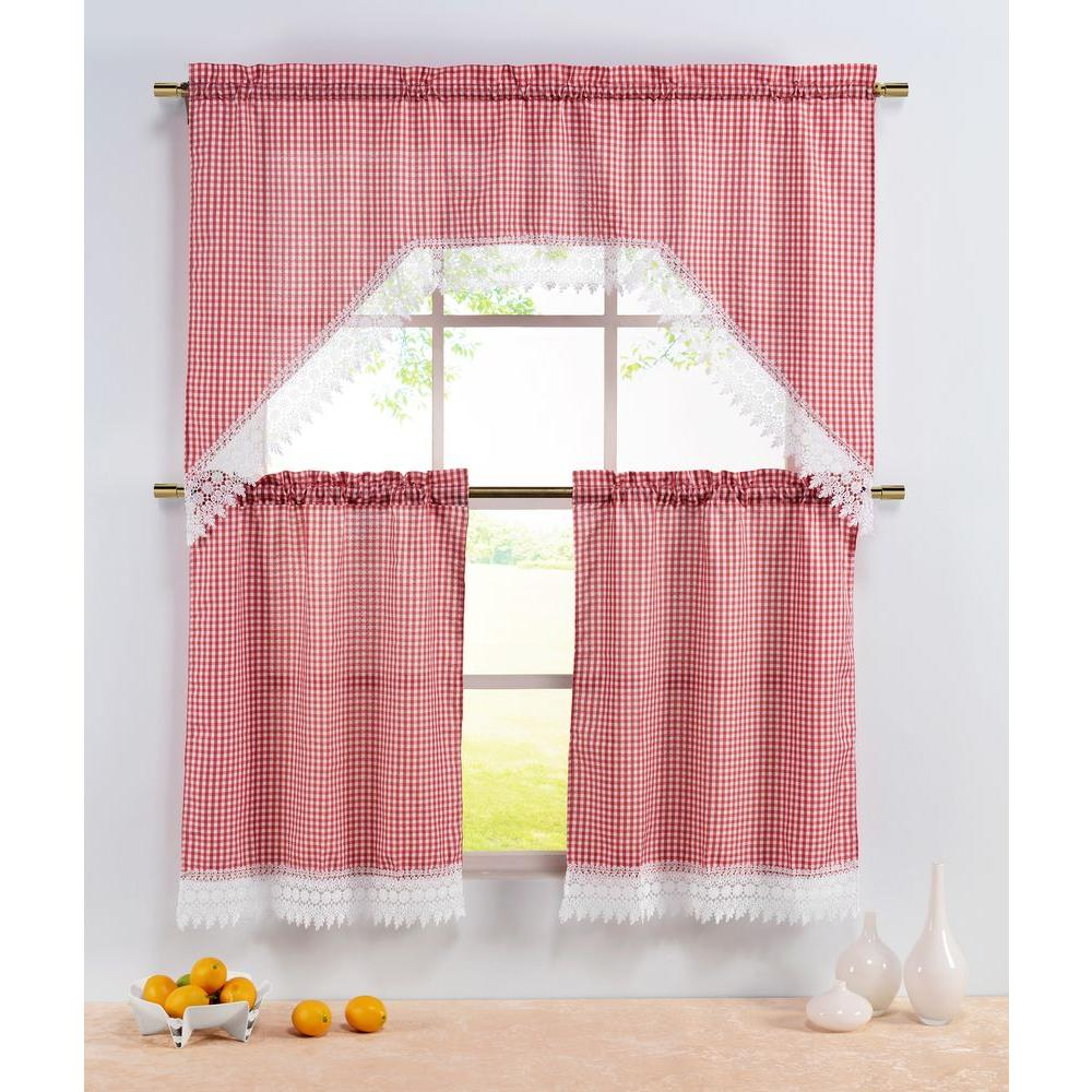 window elements semi-opaque checkered red embroidered 3-piece