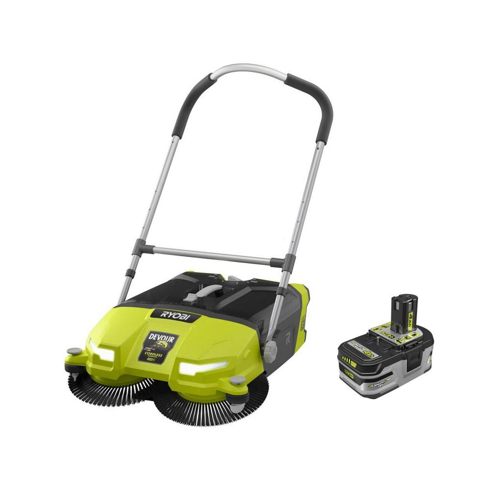 18-Volt ONE+ Cordless 4.5 Gal. DEVOUR Debris Sweeper with Lithium-Ion 4.0 Ah LITHIUM+ HP High Capacity Battery