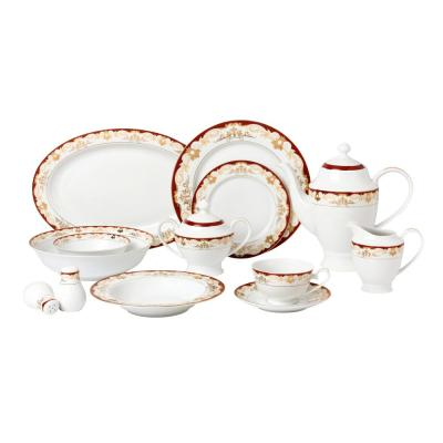 57-Piece Patterned Red Bone China Dinnerware Set (Service for 8)