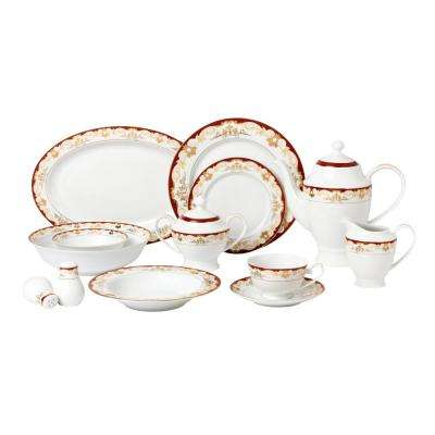 57-Piece Red Dinnerware Set-New Bone China Service for 8-People-Mabel