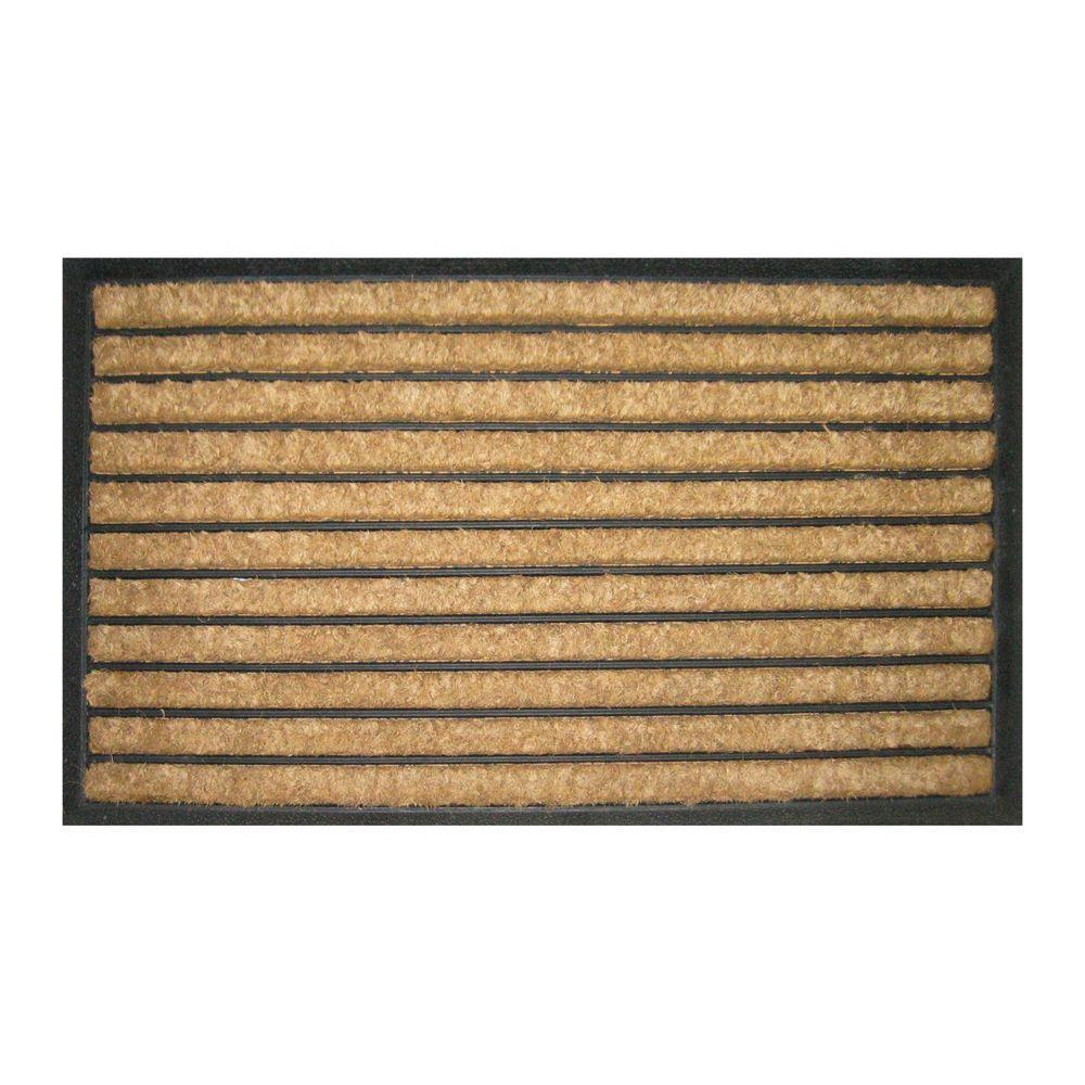 Entryways Striped 18 in. x 30 in. Recycled Rubber and Coir Door Mat