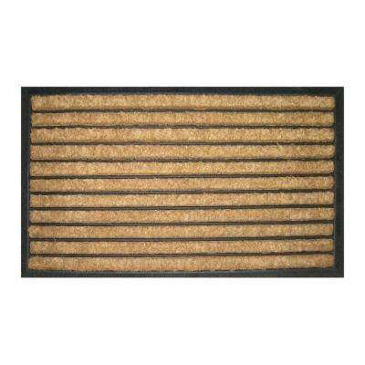 Striped 18 in. x 30 in. Recycled Rubber and Coir Door Mat