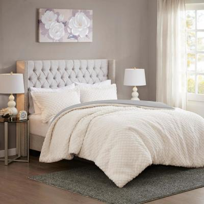 Colden 3-Piece Ivory/Grey King Textured Comforter Set