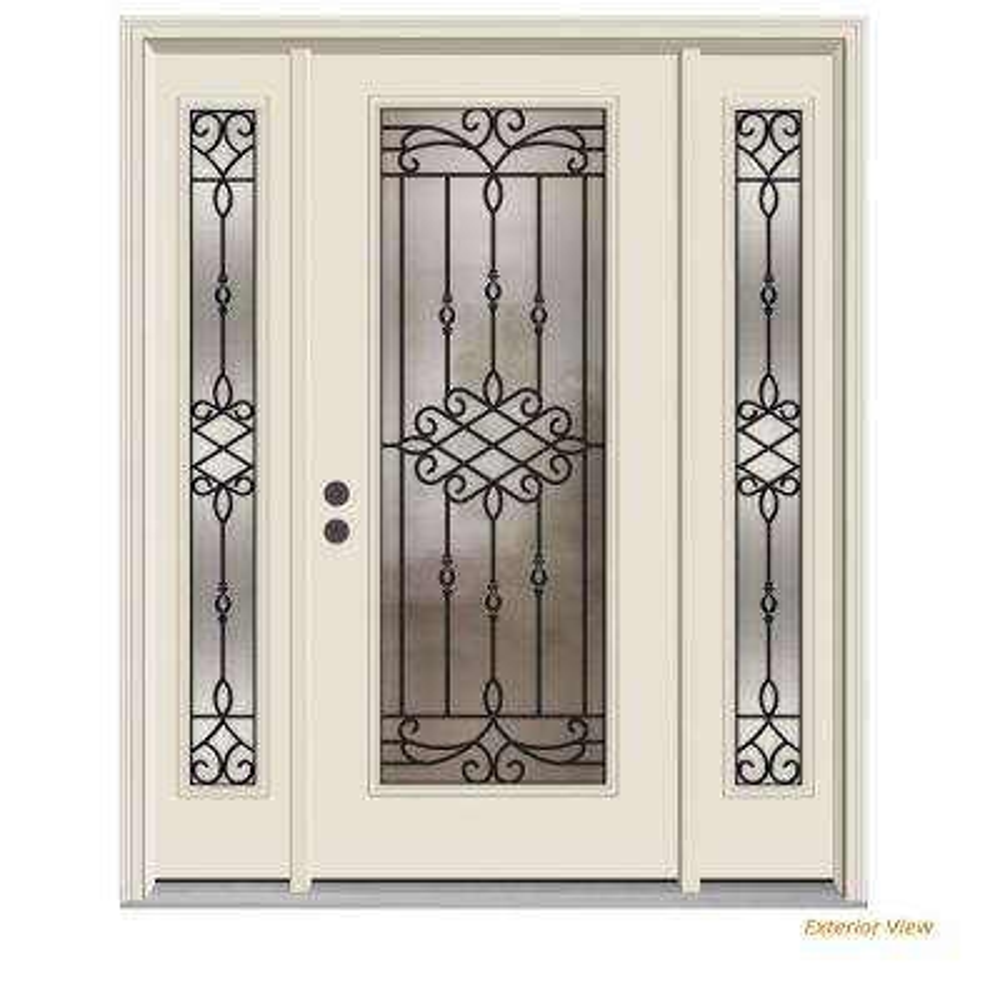 66 in. x 80 in. Full Lite Sanibel Primed Steel Prehung Right-Hand Inswing Front Door with Sidelites
