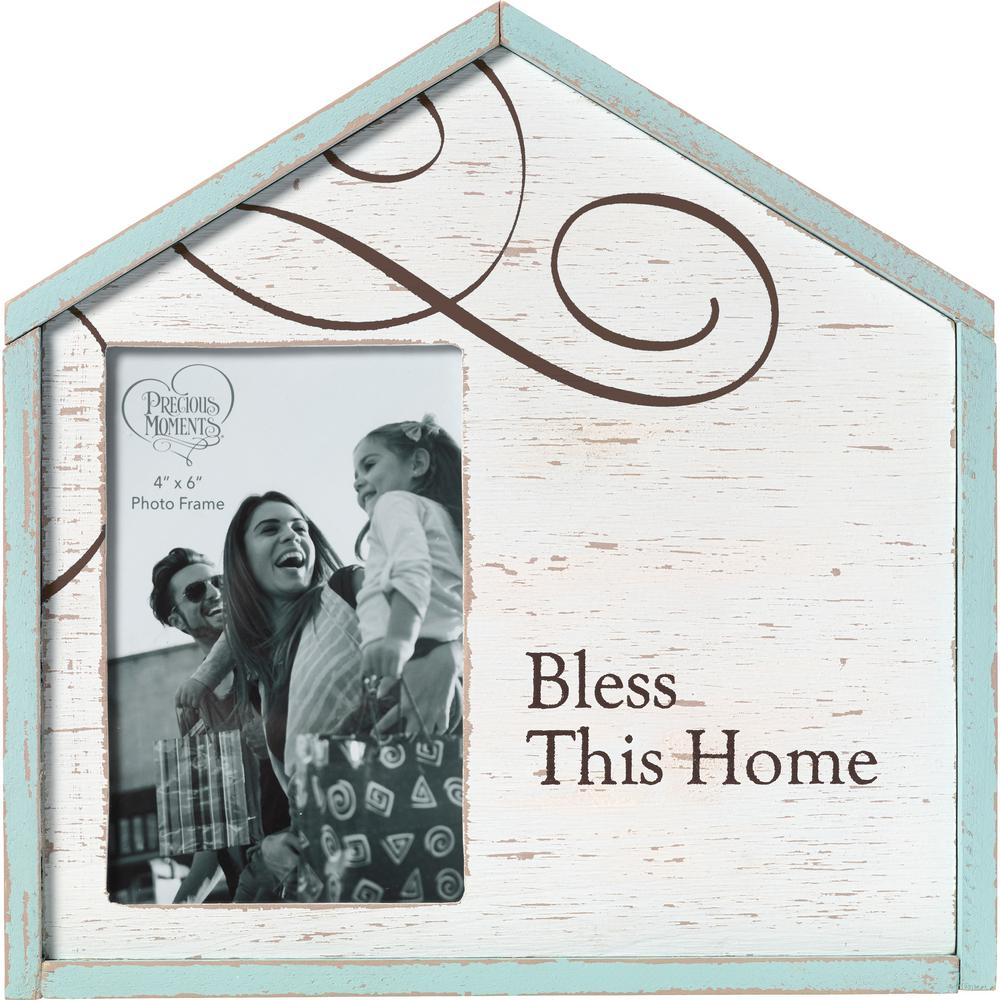 Precious Moments 4 in. x 6 in. White, Blue & Brown Distressed Wood ...