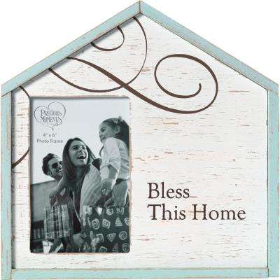 4 in. x 6 in. White, Blue & Brown Distressed Wood Bless This Home Picture Frame