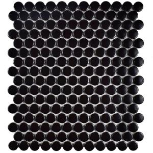 Metro Penny Matte Satin Black 9-3/4 in. x 11-1/2 in. x 6mm Porcelain Mosaic Tile