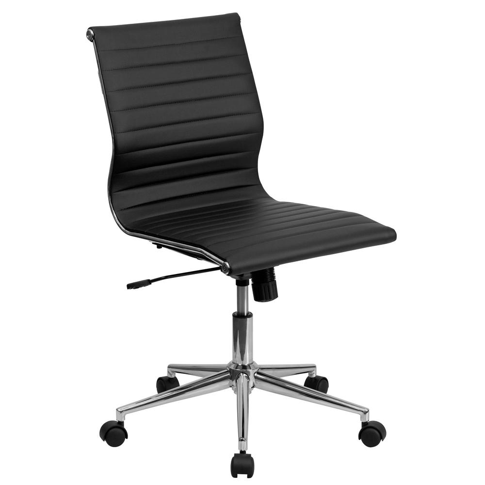 Flash Furniture Mid Back Armless Black Ribbed Upholstered Leather Swivel  Conference Chair