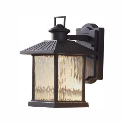 Lumsden 7 in. Black Outdoor Integrated LED Wall Lantern Sconce with Photocell