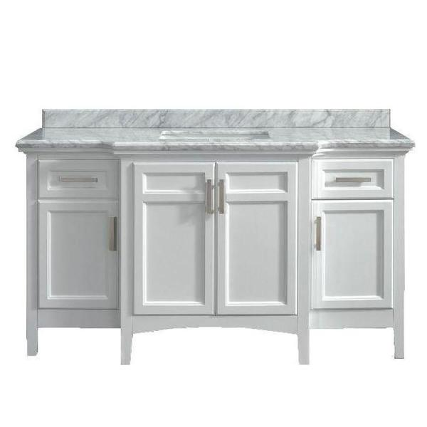 Sassy 60 in. Vanity in White with Marble Vanity Top in Carrara White