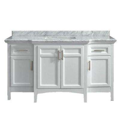 Vanity In White With Marble Vanity Top In Carrara White