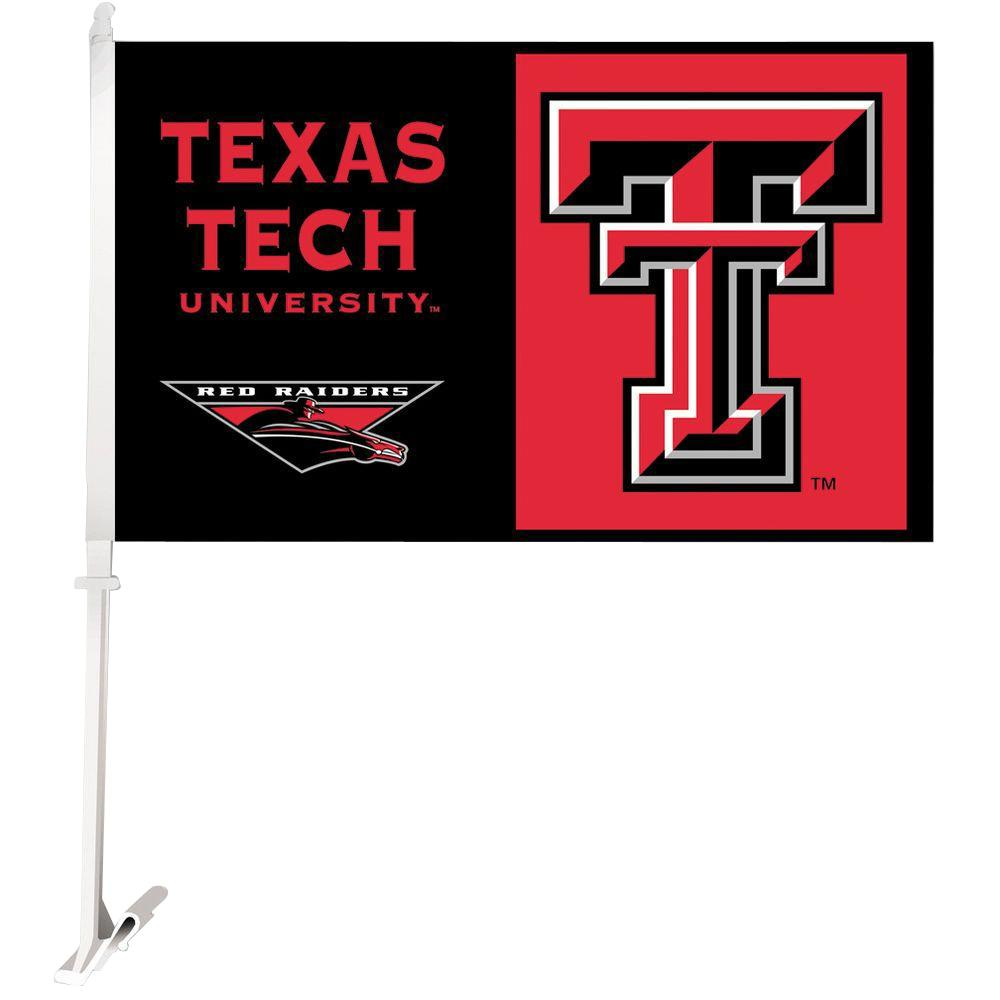 BSI Products NCAA 11 in. x 18 in. Texas Tech 2-Sided Car Flag with 1-1/2 ft. Plastic Flagpole (Set of 2)