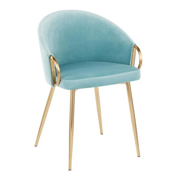 Claire Light Blue Velvet and Gold Dining Chair