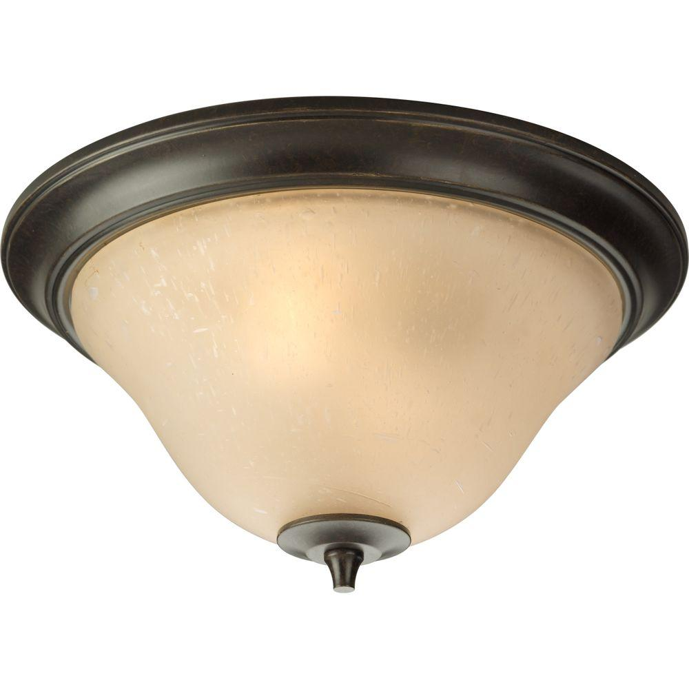 Progress Lighting Cantata Collection 2-Light Forged Bronze Flushmount with Seeded Topaz Glass
