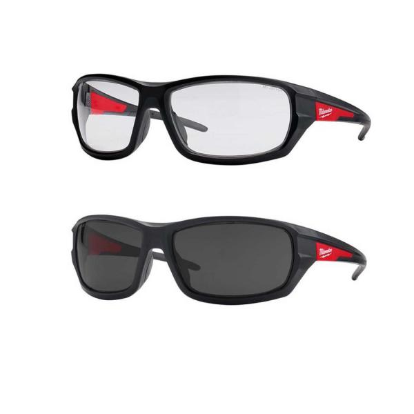 Performance Safety Glasses with Clear / Tinted Lenses (2-Pack)