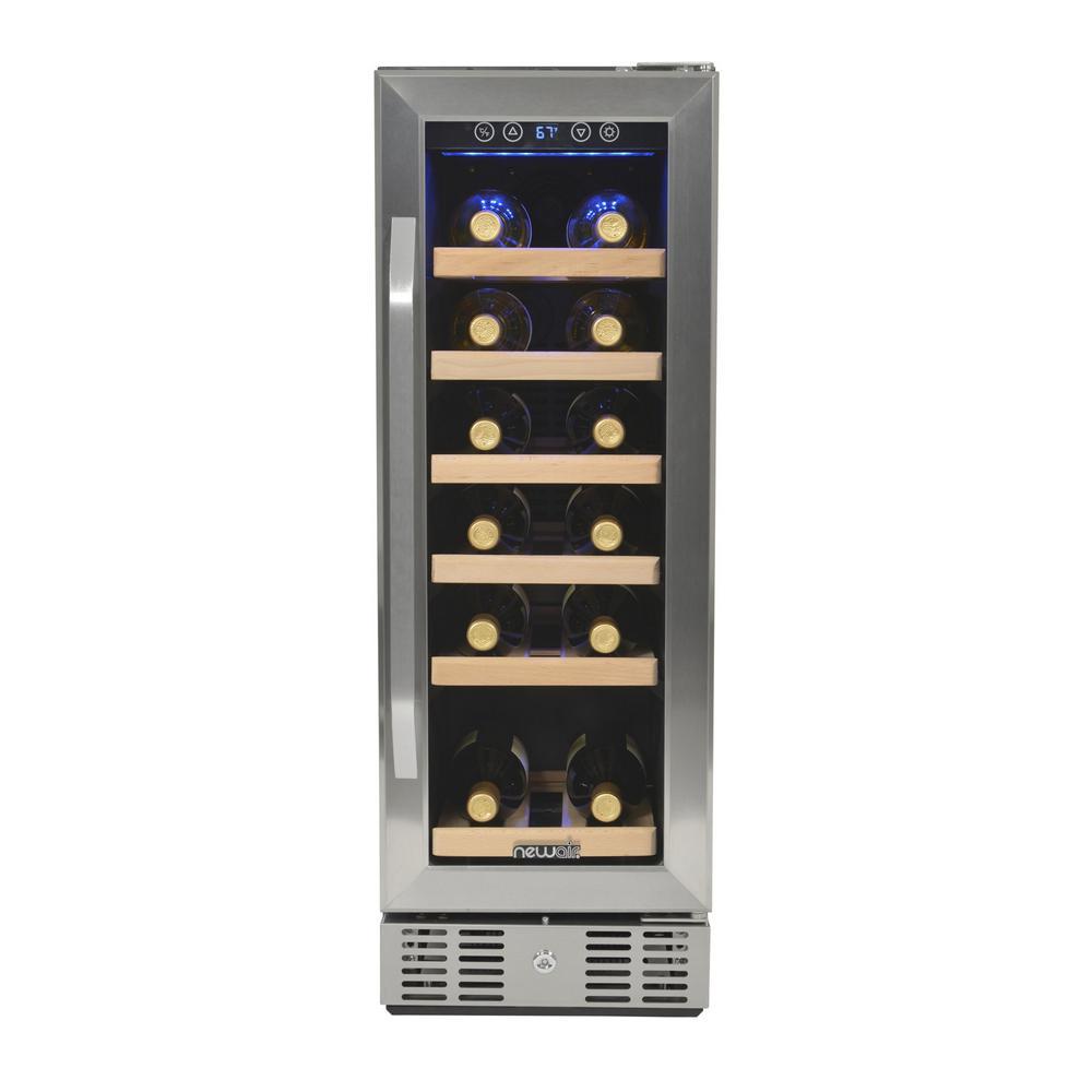 Premium Single Zone 19-Bottle Built-In Freestanding Fridge Under Counter Refrigerator Wine Cooler - Stainless Steel