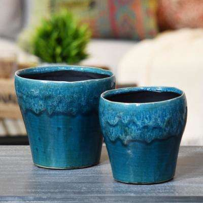 Blue Gloss Washed Ceramic Decorative Vase