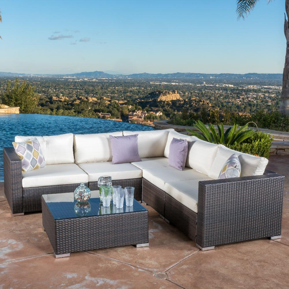 Noble House Santa Rosa Multi Brown 6-Piece Wicker Outdoor Sectional Set with Beige Cushions