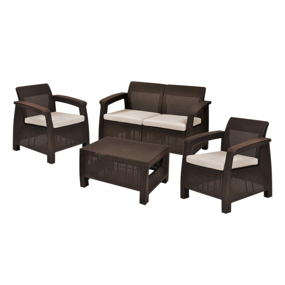 Lovely Keter Corfu Brown 4 Piece All Weather Resin Patio Seating Set With Mushroom  Cushions 227339   The Home Depot