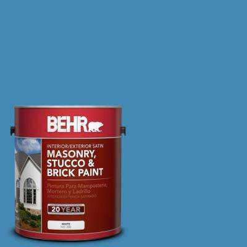 1 gal. #M520-5 Alpha Blue Satin Interior/Exterior Masonry, Stucco and Brick Paint