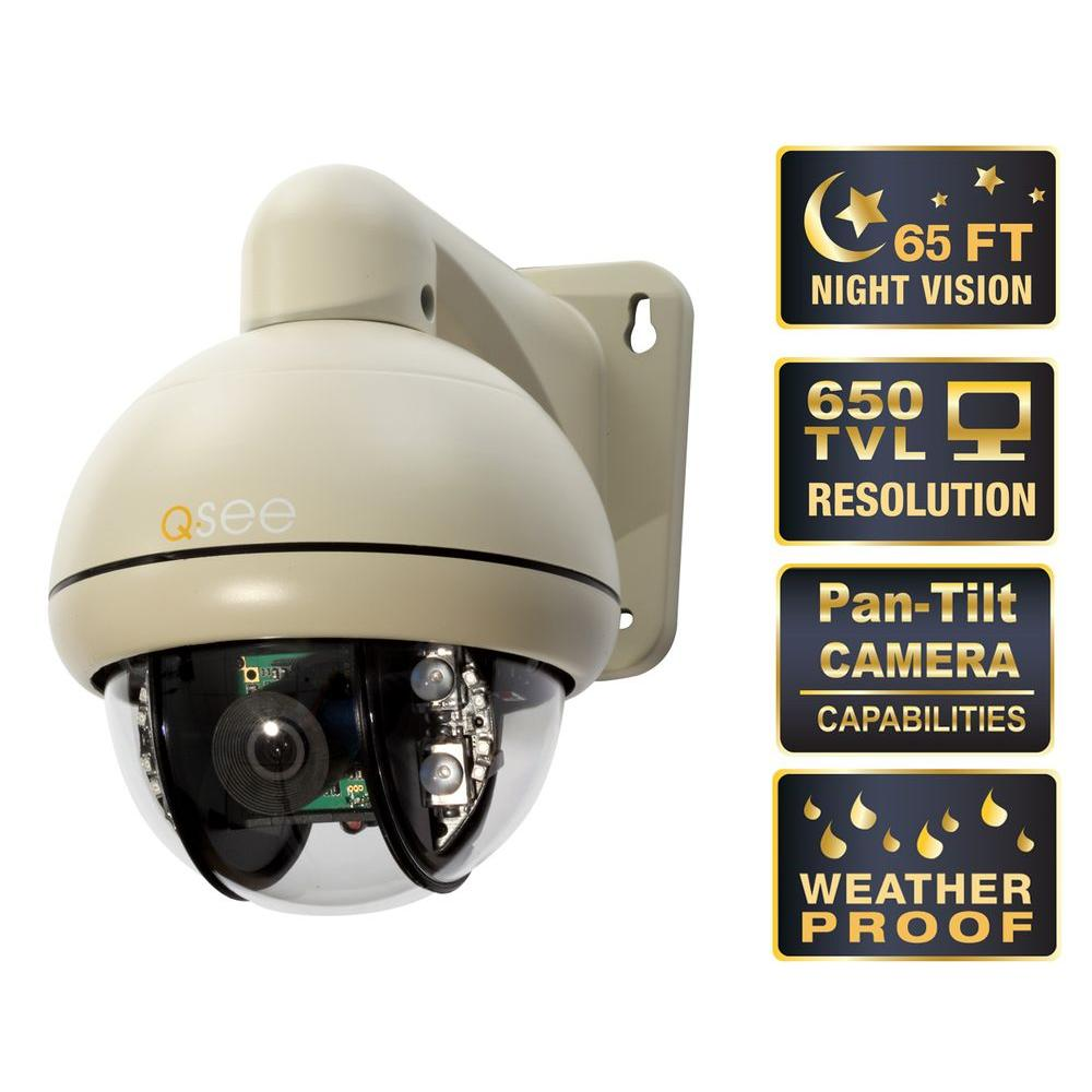 Q-SEE Premium Series Indoor/Outdoor 650 TVL Pan Tilt Security Camera with 65 ft. Night Vision