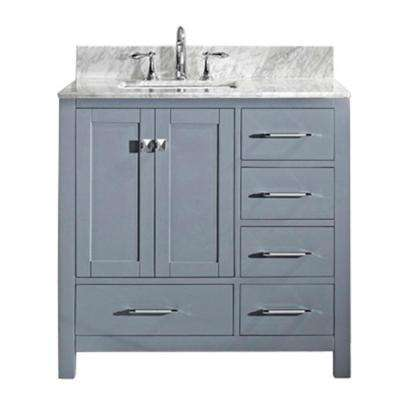 Caroline Avenue 36 in. W Bath Vanity in Gray with Marble Vanity Top in White with Square Basin