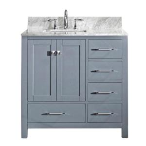 Virtu USA Caroline Avenue 36 inch W x 22 inch D Single Vanity in Gray with Marble Vanity Top in White with White Basin by Virtu USA