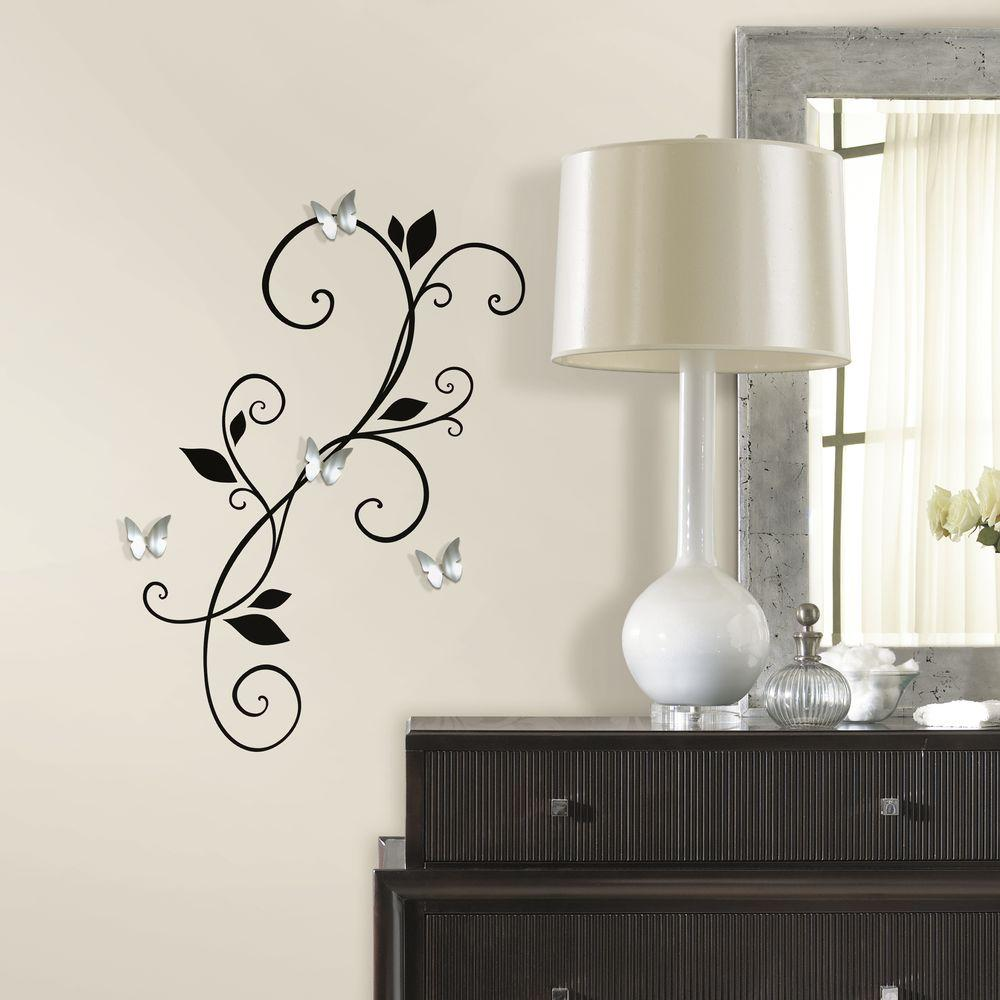 Scroll Sconce Peel And Stick Wall Decal With Bendable Butterfly  Mirror RMK2689SCS   The Home Depot
