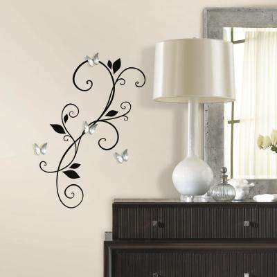 5 in. x 11.5 in. Scroll Sconce Peel and Stick Wall Decal with Bendable Butterfly Mirror