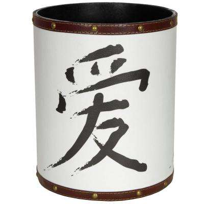 Oriental Furniture 8.25 in. x 10 in. Love Calligraphy Waste Basket