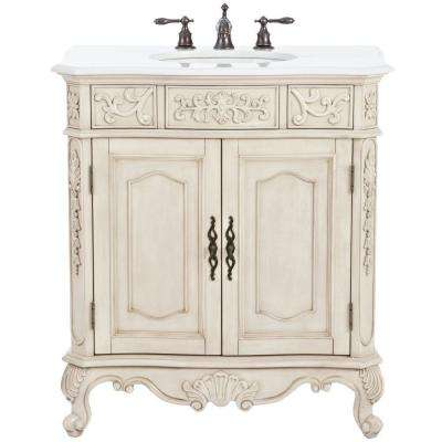 Winslow 33 in. W Bath Vanity in Antique White with Marble Vanity Top in White