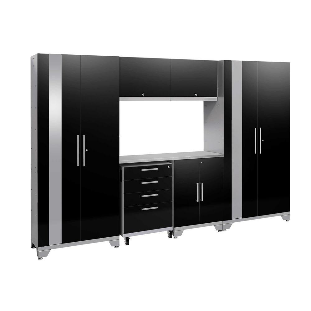 Performance 2.0 77.25 in. H x 108 in. W x 18 in. D Steel Stainless Steel Worktop Cabinet Set in Black (7-Piece)