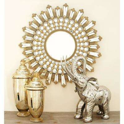 32 in. Contemporary Art Deco Inspired Sunburst Wall Mirror