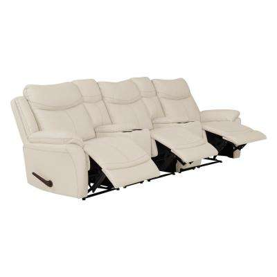 Off-White Almond Tuff Stuff Fabric 3-Seat Recliner Sofa with 2-Storage Consoles and USB Ports