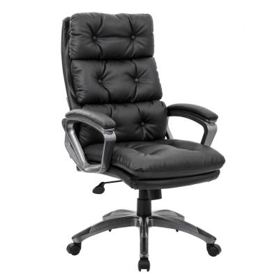 2-Layer Bonded Leather High Back Office Executive Backrest Chair with Soft Seat Cushion, Black