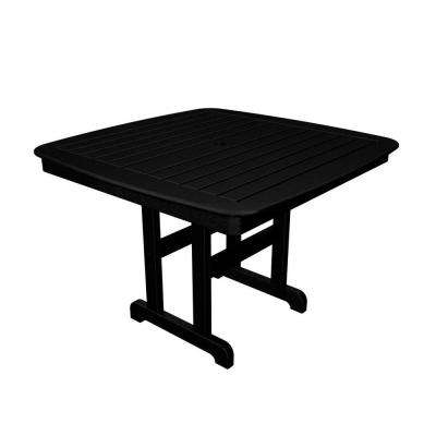 Nautical 44 in. Black Plastic Outdoor Patio Dining Table