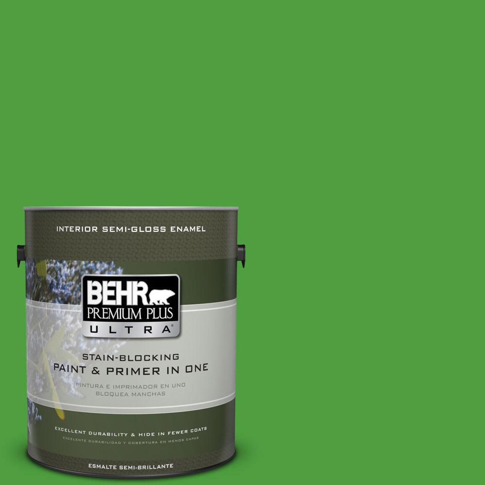 BEHR Premium Plus Ultra 1-gal. #S-G-440 Green Acres Semi-Gloss Enamel Interior Paint