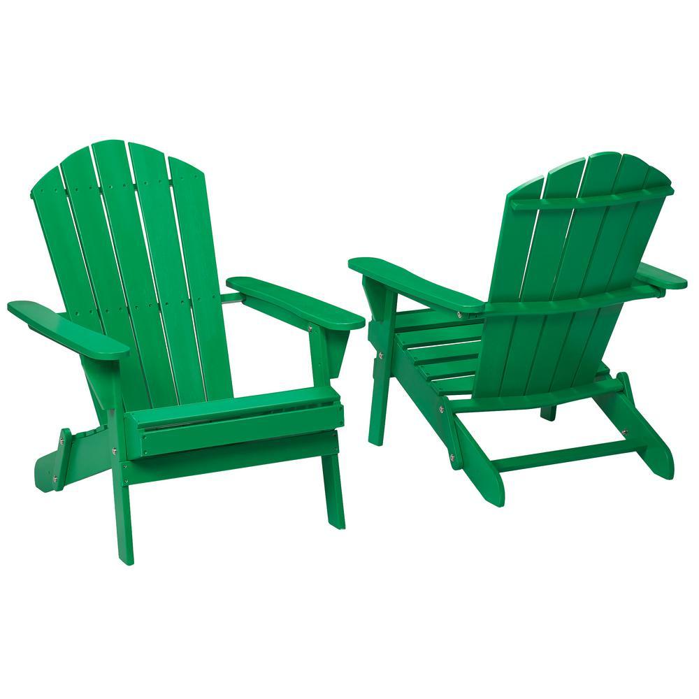 Hampton Bay Jungle Folding Outdoor Adirondack Chair (2 Pack)