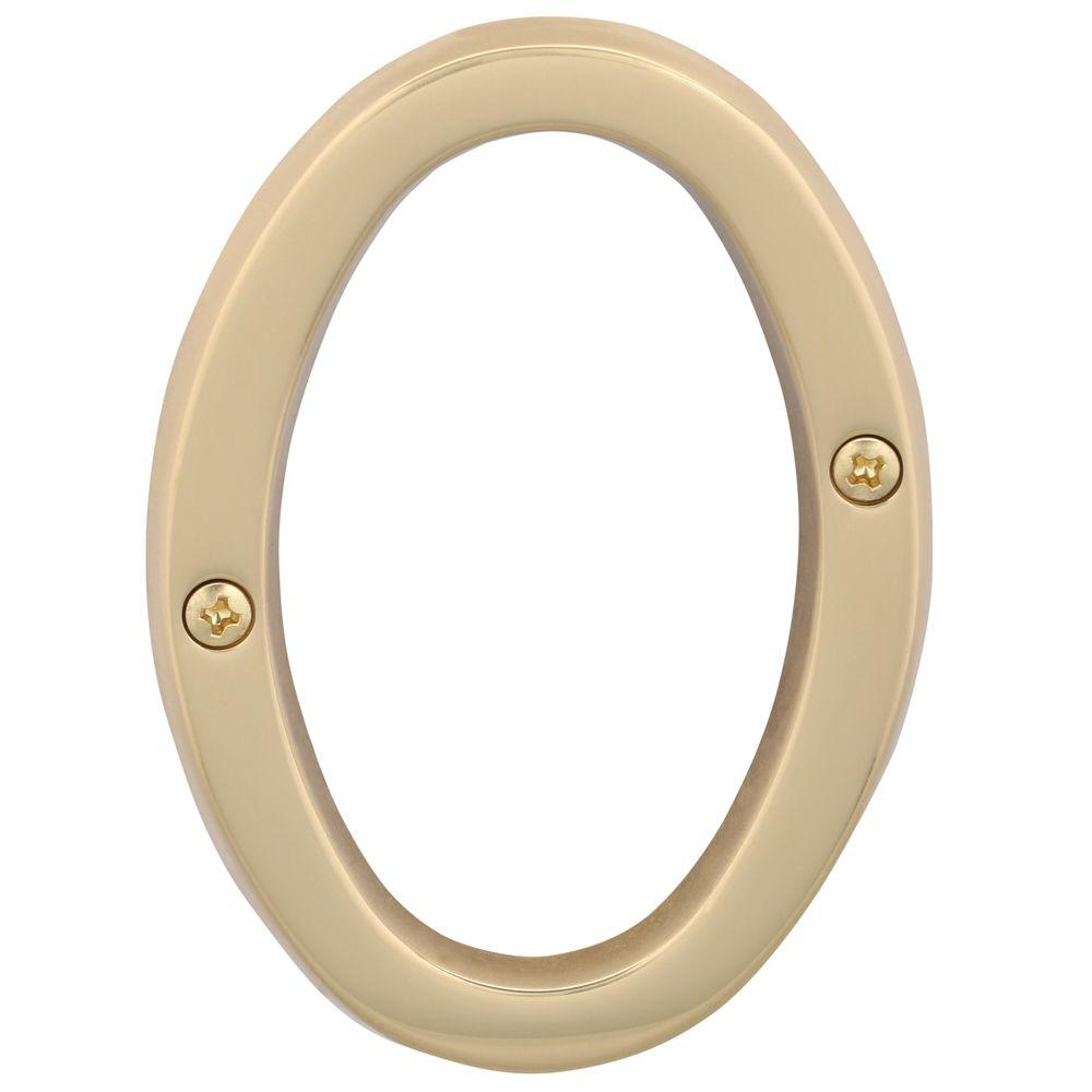 Schlage 4 in bright brass classic house number 0 680904 for Bright houses number