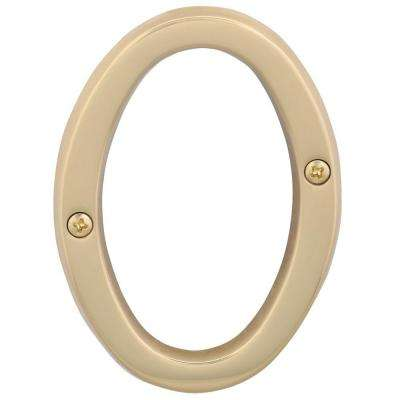 4 in. Bright Brass Classic House Number 0