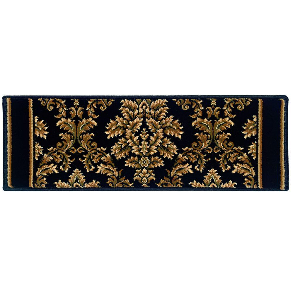 Kurdamir Damask Black 9 in. x 26 in. Stair Tread Cover