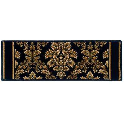 Kurdamir Damask Black 9 in. x 26 in. Stair Tread