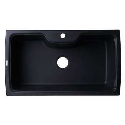 Drop-In Granite Composite 34.63 in. 1-Hole Single Bowl Kitchen Sink in Black