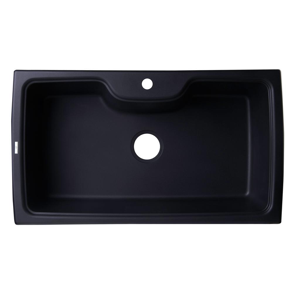 Drop-In Granite Composite 34.63 in. 1-Hole Single Bowl Kitchen Sink in Black